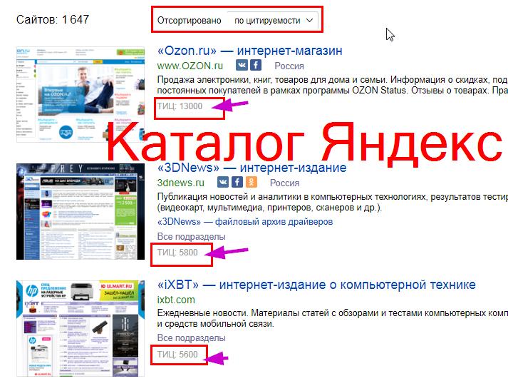каталог поисковика Яндекс