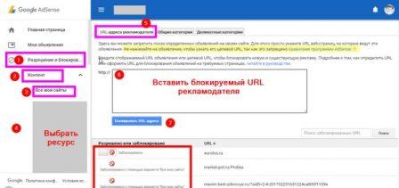 URL адреса рекламодателя блокирую