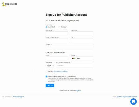Регистрация на Propeller Ads